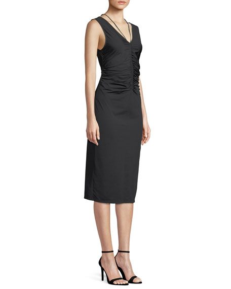 Travel Jersey Ruched Tie Midi Dress