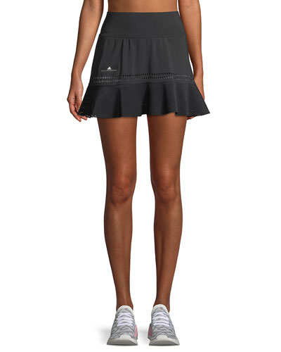 Perforated High-Rise Flounce Performance Skirt