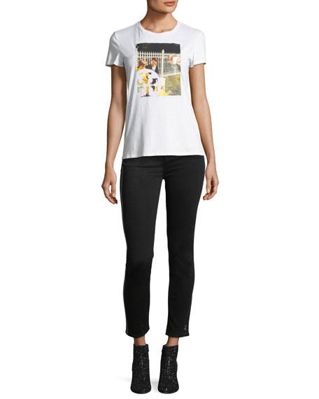Skinny Ankle Jeans w/ Sequin Tuxedo Stripe