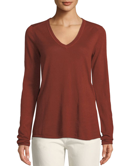 ATM Anthony Thomas Melillo V-Neck Raw-Edge Cashmere Tee