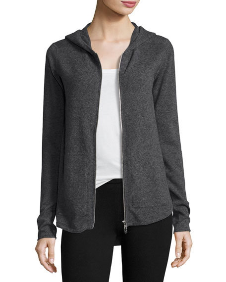 ATM Anthony Thomas Melillo Cashmere-Blend Zip Front Hooded