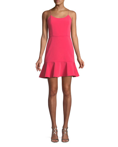 Andalasia Sleeveless Flounce-Hem Mini Dress