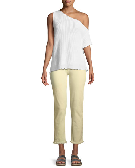 Hoxton Mid-Rise Straight-Leg Ankle Jeans w/ Fray Hem