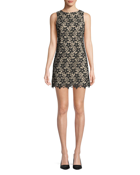 Alice + Olivia Clyde Floral Lace Shift Mini