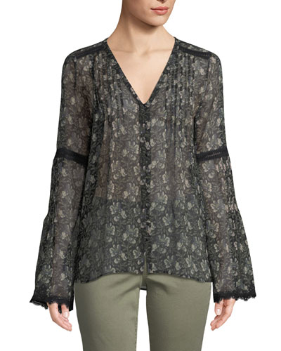 Clio V-Neck Bell-Sleeves Floral-Print Sheer Silk Blouse w/ Lace