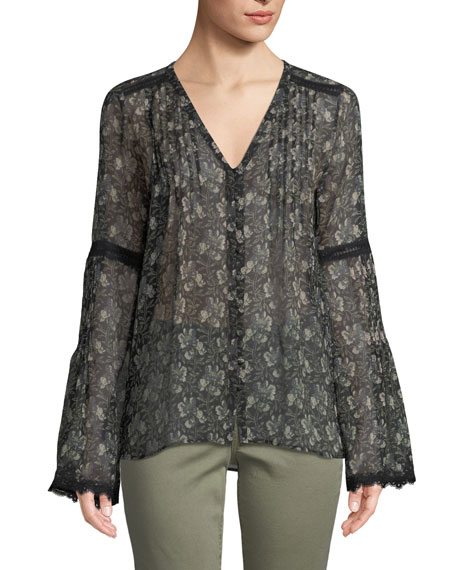 PAIGE Clio V-Neck Bell-Sleeves Floral-Print Sheer Silk Blouse