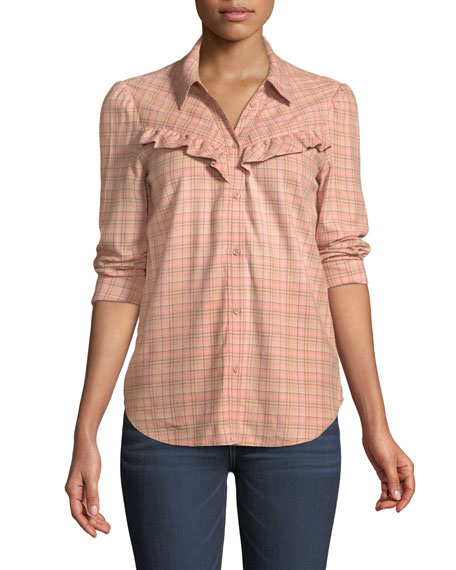 Kamie Long-Sleeve Plaid Button-Down Shirt