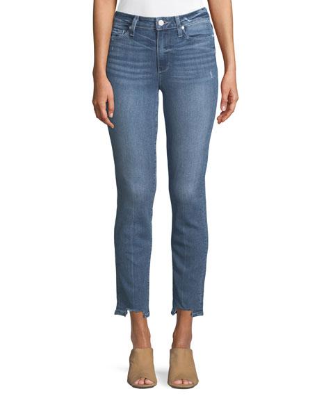 PAIGE Hoxton Straight-Leg Ankle Jeans w/ Fray Hem