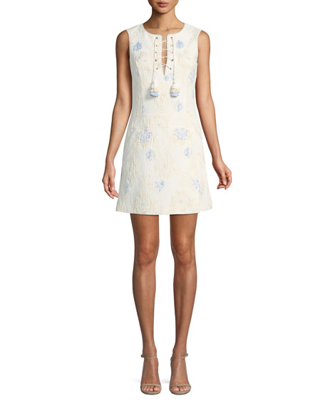 Badgley Mischka Collection Jacquard Sleeveless Mini Dress w/