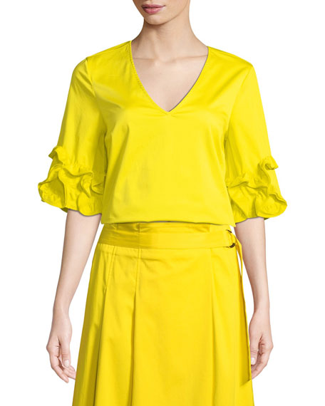 Badgley Mischka Collection V-Neck Ruffle-Sleeve Top