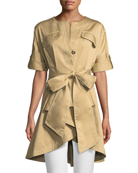 Badgley Mischka Collection Safari Self-Tie High-Low Jacket