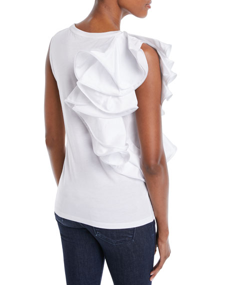 Ruffle-Shoulder Tank Top