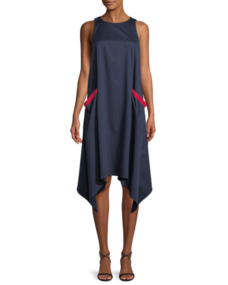 Chemise Sleeveless Dress w/ Handkerchief Hem
