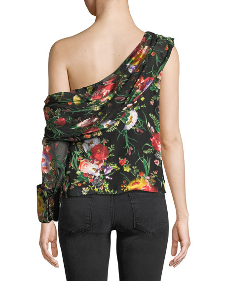 Serita One-Shoulder Floral Silk Drape Top