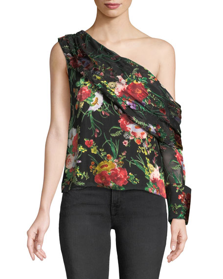 Serita One-Shoulder Floral Silk Drape Top