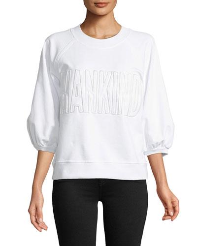 Mankind Embroidered 3/4 Puff Sleeve Sweatshirt