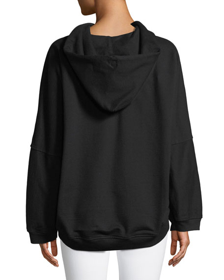 High-Low Dolman Embroidered Hoodie
