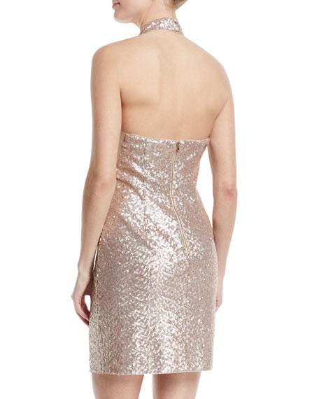 Cutout Sequin Halter Mini Dress