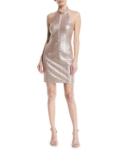Cutout Sequin Halter Mini Dress
