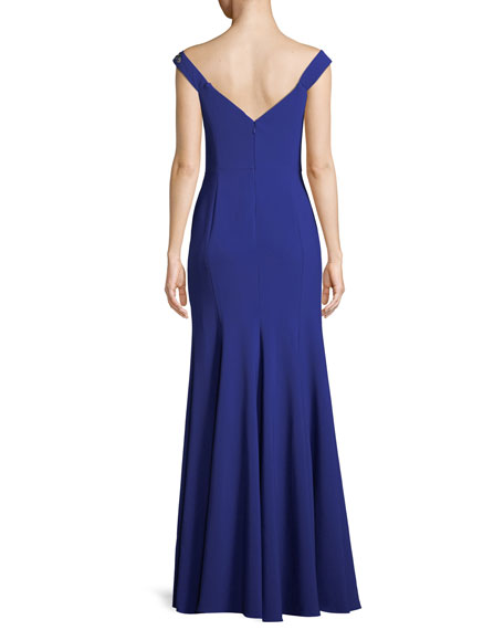 Stretch Crepe Off-the-Shoulder Gown