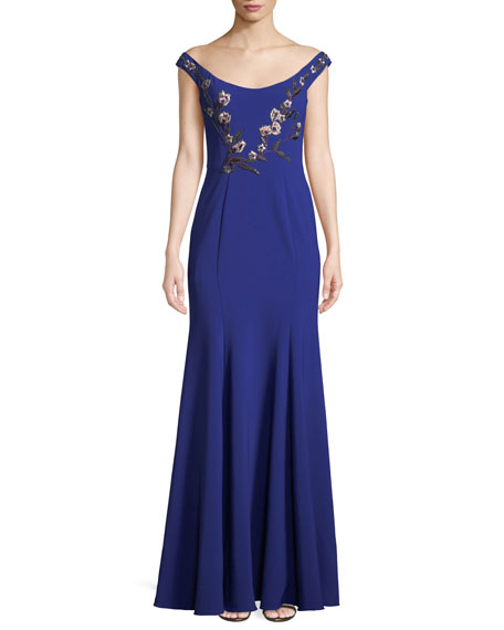 Marchesa Notte Stretch Crepe Off-the-Shoulder Gown