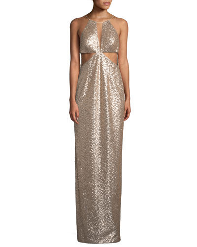 Sequin Cutout Column Gown