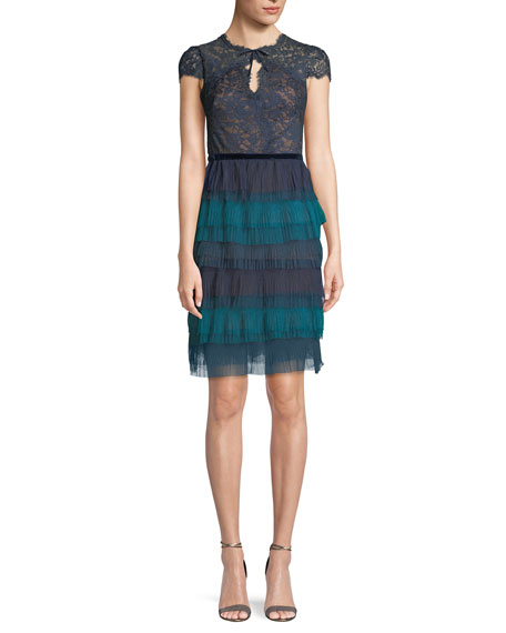 Marchesa Notte Lace Cap-Sleeve & Tulle Ruffle Dress