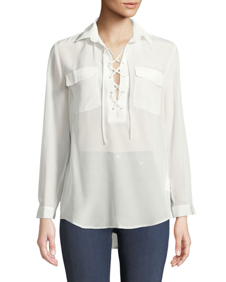 Elizabina Long-Sleeve Lace-Up Silk Blouse