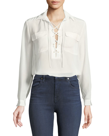 Club Monaco Elizabina Long-Sleeve Lace-Up Silk Blouse