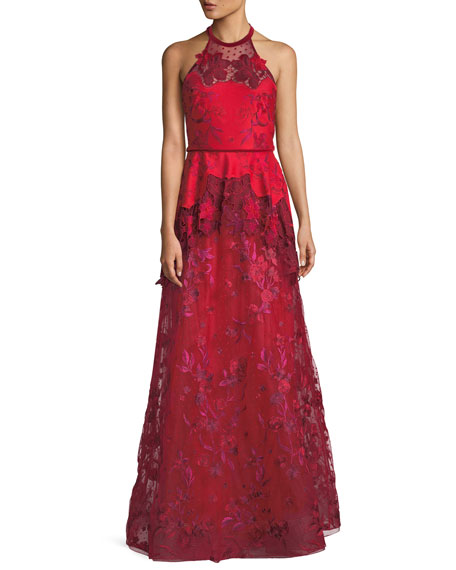 Laser-Cut Embroidered Halter Gown