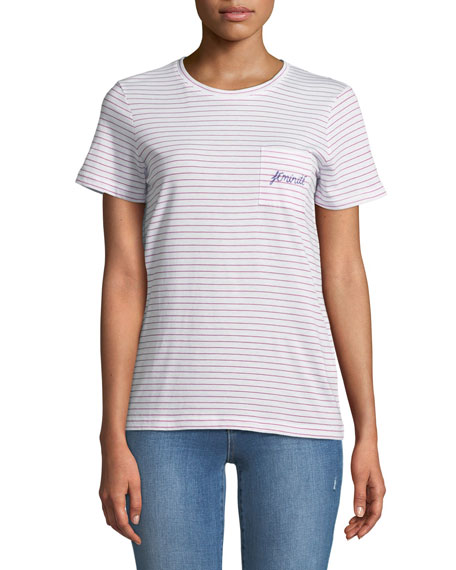 Leary Striped Embroidered Pocket Tee