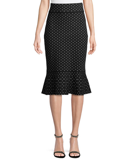 Club Monaco Graciekins Polka-Dot Midi Skirt