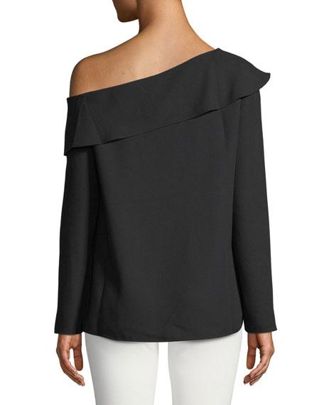 Kerni Off-Shoulder Long-Sleeve Crepe Blouse, Black