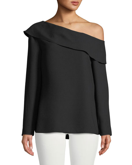 Club Monaco Kerni Off-Shoulder Long-Sleeve Crepe Blouse, Black