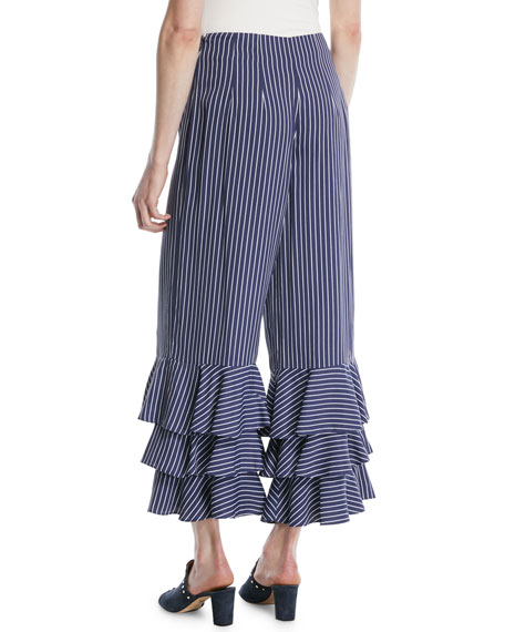 Aryah Pinstripe Ruffle Wide-Leg Pants