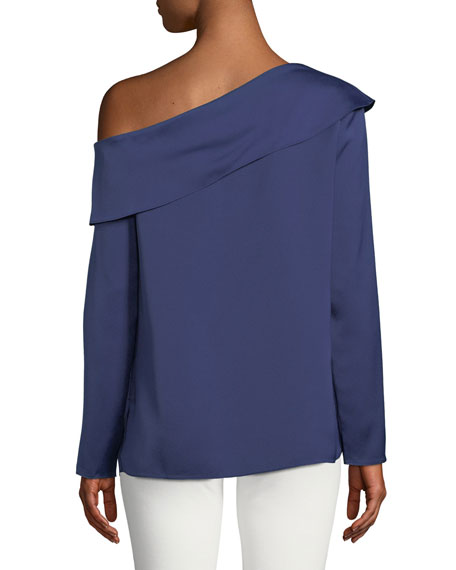 Kerni Off-Shoulder Long-Sleeve Crepe Blouse, Dark Blue