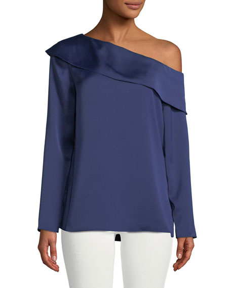Club Monaco Kerni Off-Shoulder Long-Sleeve Crepe Blouse, Dark