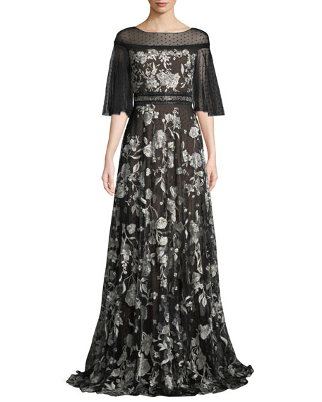 Marchesa Notte Flutter-Sleeve Floral Embroidered Flocked Tulle
