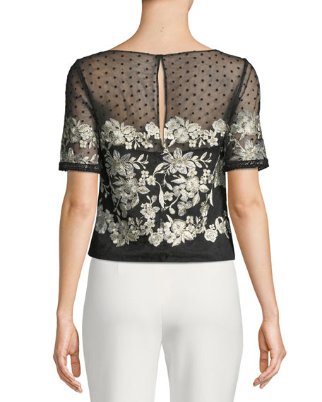 Tulle Top w/ Floral Embroidery