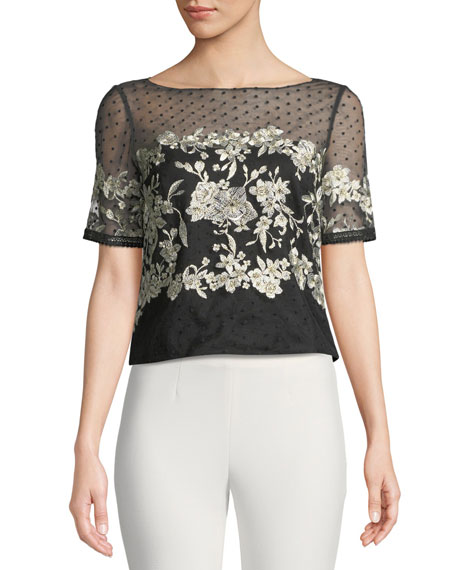Marchesa Notte Tulle Top w/ Floral Embroidery