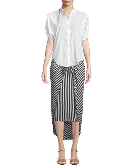 Isola Striped Sarong Midi Skirt