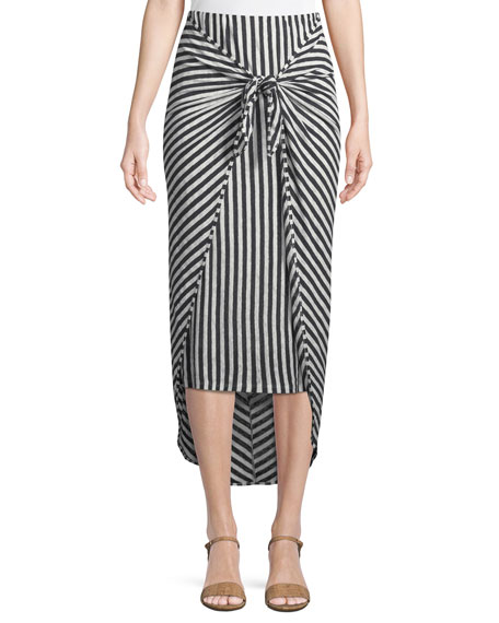 Isola Striped Sarong Midi Skirt