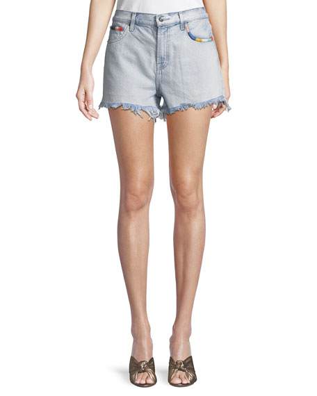 Amore Embroidered Denim Cutoff Shorts