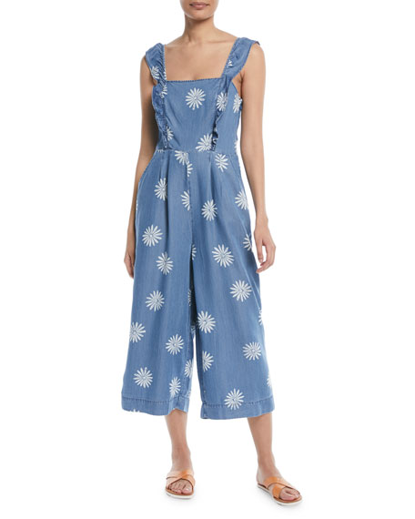 Dolce Floral Chambray Wide-Leg Jumpsuit