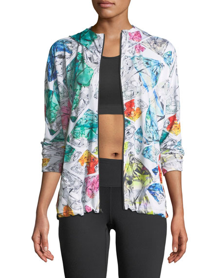 Mosaic-Print Zip-Front Hooded Performance Jacket