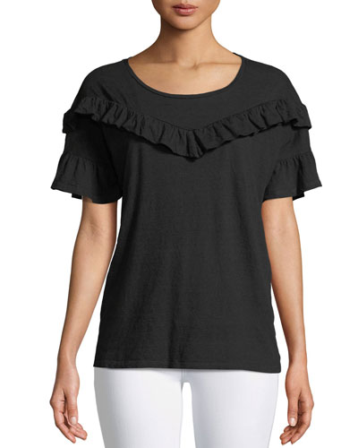 Adalie Ruffle Short-Sleeve Top, Black
