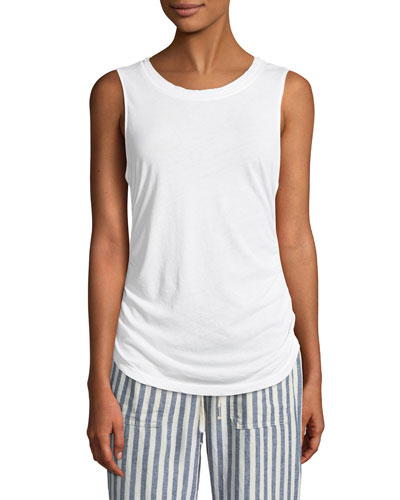 Shirred Crewneck Tank Top