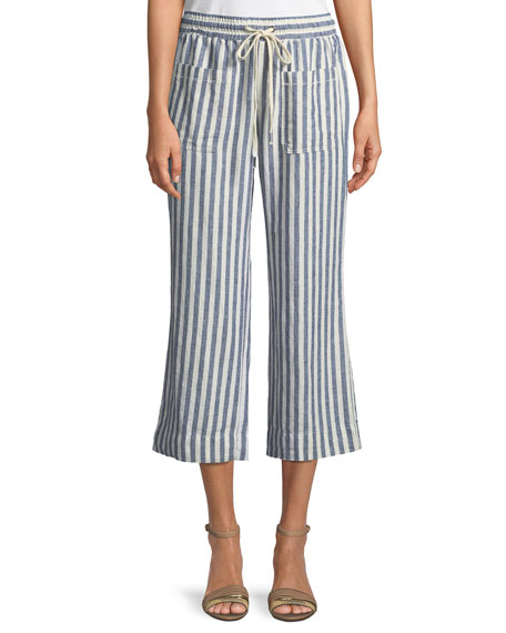Striped Flare-Leg Cropped Pants