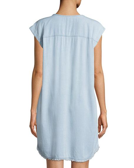 Dropped-Shoulder Frayed Shirtdress