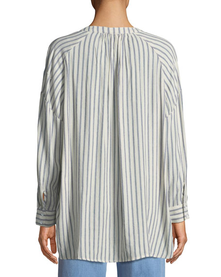 Striped Button-Down Painters Blouse